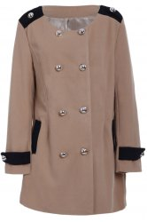 Chic Turn-Down Collar Long Sleeve Double-Breasted Woolen Coat For Women