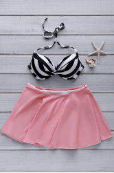 Sexy Halter Stripe High-Waisted Women's Skirtini