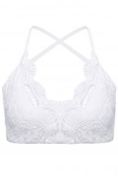 Sexy V-Neck Sleeveless Criss-Cross Lace Women's Tank Top
