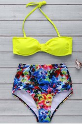 Sexy Halter Neck Printed High Waist Bowknot Bikini Set For Women -