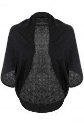 Batwing Sleeves Solid Color Short Cardigan -