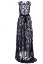 Floor Length Full Lace Prom Dress - BLACK