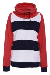Casual Hooded Long Sleeve Drawstring Striped Hoodie For Women -