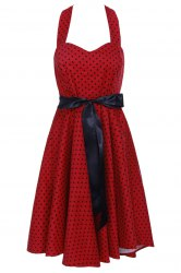 Vintage Halter Polka Dot Backless Cocktail Dress -