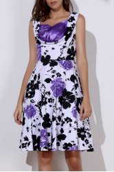 Vintage Sweetheart Neck Floral Print Sleeveless Ball Gown Dress For Women