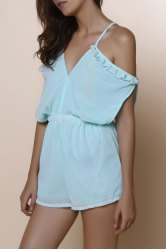 Dew Shoulder Flounced Short Romper - MINT GREEN S