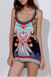 Ethnic Style Scoop Neck Printed Asymmetrical Women's Tank Top