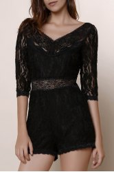 Trendy V-Neck 3/4 Sleeve See-Through Lace Romper For Women - BLACK