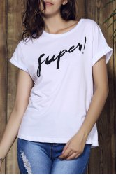 Brief Round Collar Short Sleeves Letter Print Women's T-Shirt - WHITE L
