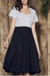 Sweetheart Neck Polka Dot Tea Length Dress