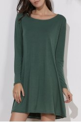 Simple Round Collar Long Sleeve Pure Color Women's Dress - GREEN