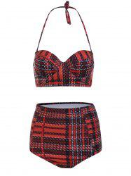 Plaid Bustier Bikini Top and High Waisted Bottoms
