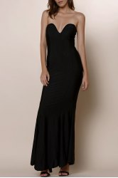 Strapless Bodycon Bandeau Maxi Mermaid Dress -