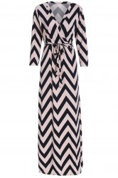 Plunging Neck 3/4 Sleeve Chevron Maxi Dress