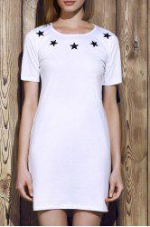 Round Neck Letter Pattern Hollow Out Short Sleeve Dress For Women - WHITE L