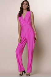 Sexy Solid Color Plunging Neck Sleeveless Plus Size Jumpsuit For Women - PURPLISH RED