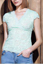 Stylish Plunging Neck Short Sleeve Lace Women's T-Shirt