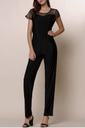 Chic Gauze Spliced High Waist Bodycon Plus Size Jumpsuit For Women - BLACK