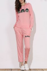 Cute Hooded Emoji Printed Pullover Hoodie and Elastic Waist Pants Twinset For Women - PINK