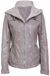 Detachable Hooded Faux Leather Jacket - LIGHT KHAKI