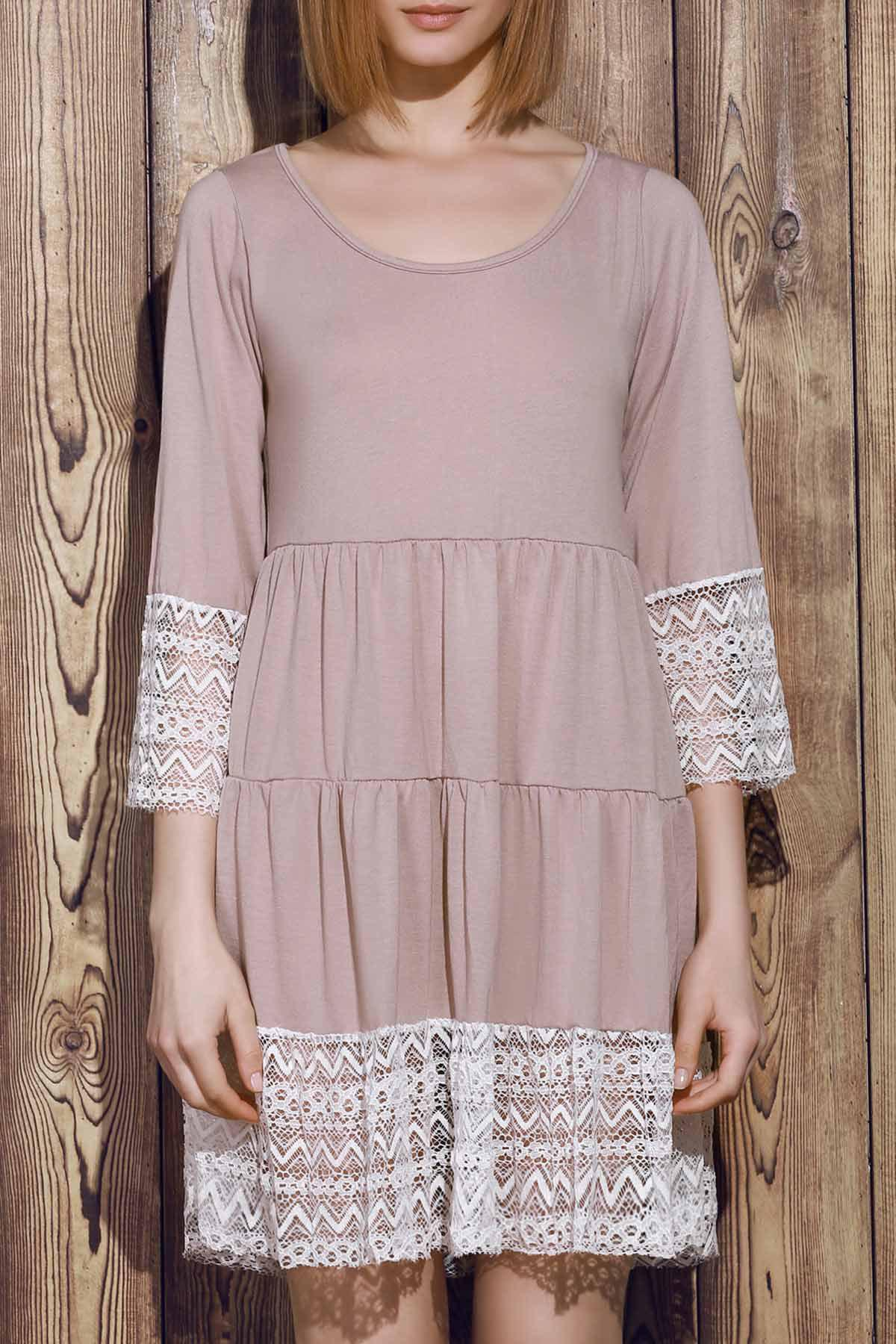 Buy Casual Lace Splicing Loose-Fitting A Line Dress