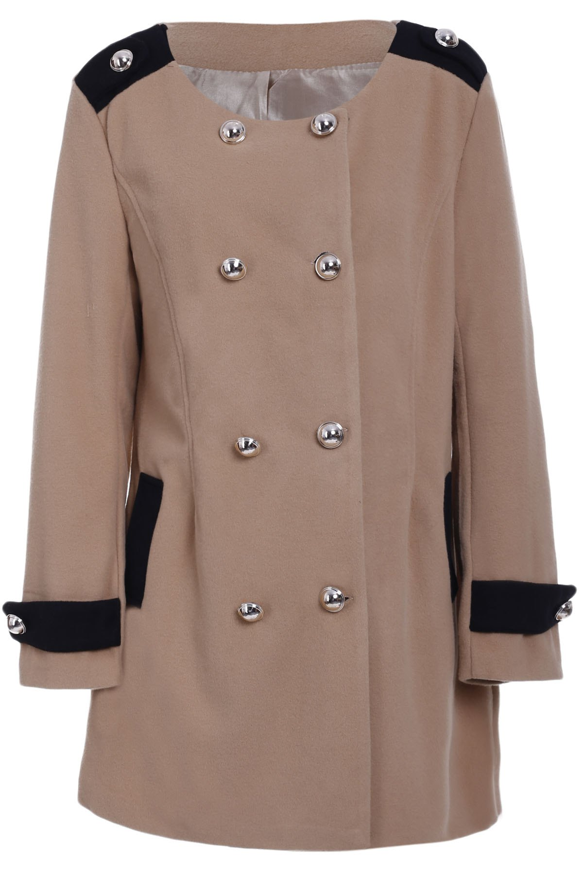 Shops Chic Turn-Down Collar Long Sleeve Double-Breasted Woolen Coat For Women