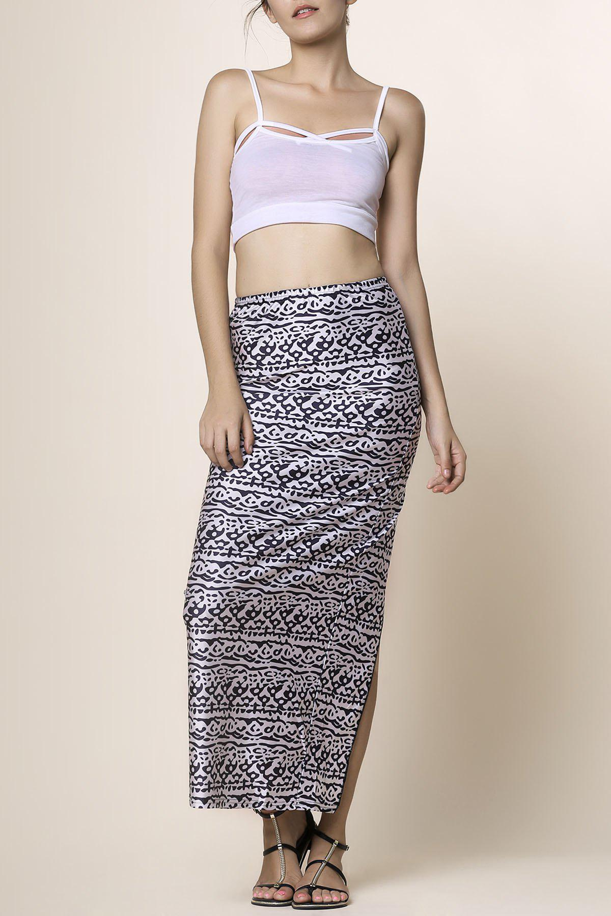 Cami Top and High Waisted Printed Skirt Чёрный S