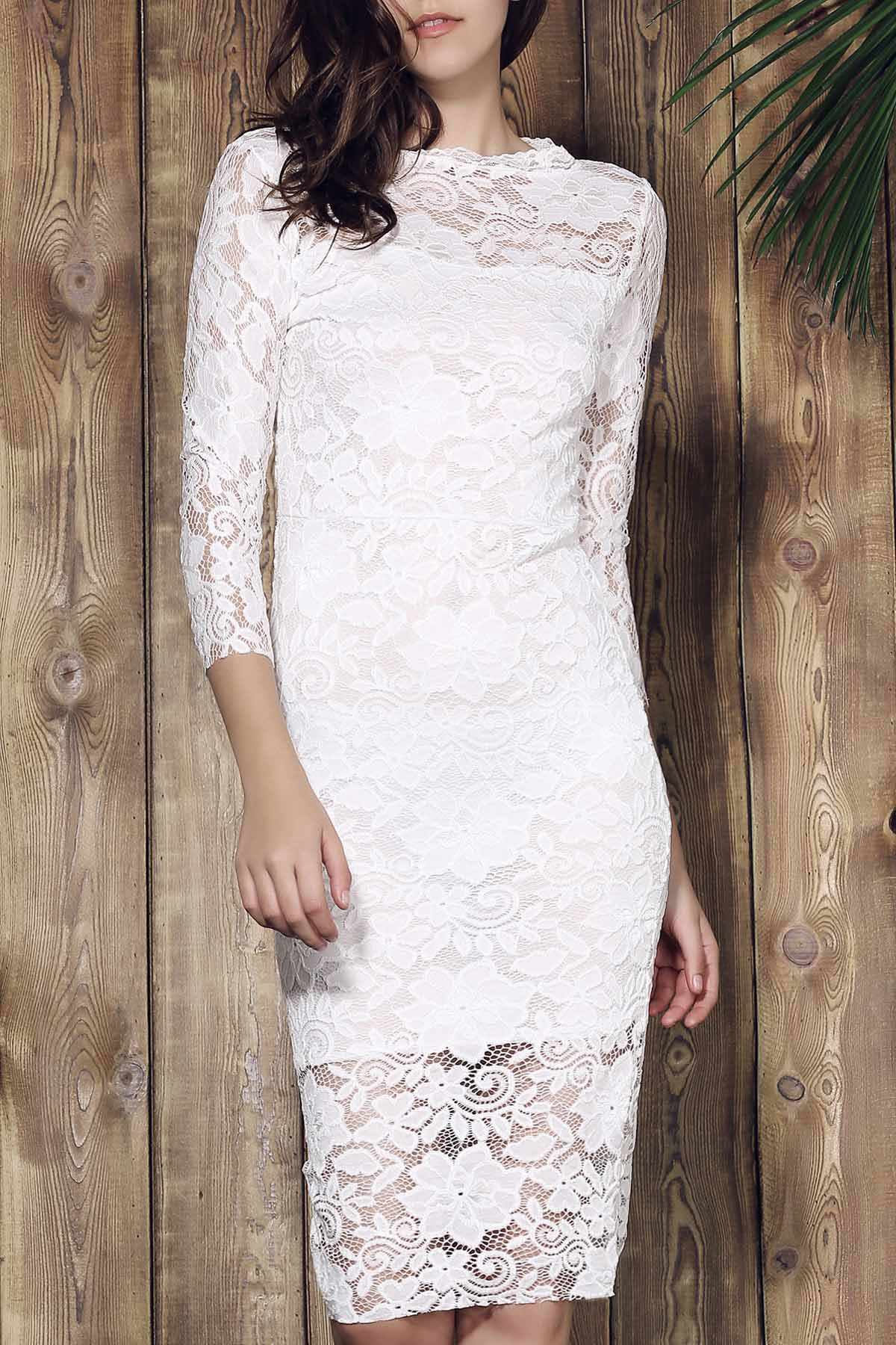 Outfits Women's Stylish Lace Cut Out Over Hip 3/4 Sleeve Pure Color Dress