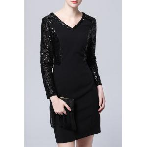 Solid Color Sequined Dress -