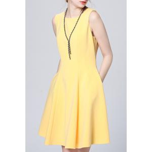 Solid Color Pleated Sundress -