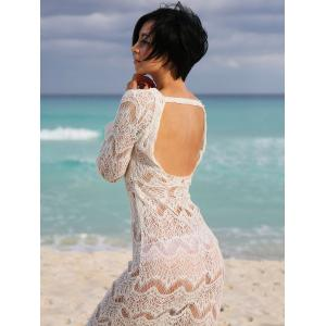 Lace Long Sleeve Backless Cover-Up Dress