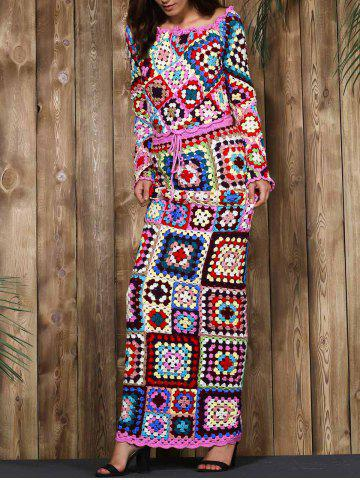 Outfits Limited Edition Off-The-Shoulder Granny Squares Long Sleeves Crochet Tank Top+Maxi Skirt For Women