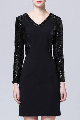 Store Solid Color Sequined Dress