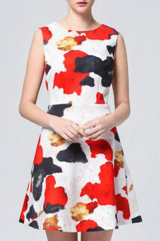 Discount Sleeveless Color Block Dress