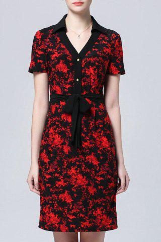 New Belted Printed Shirt Dress