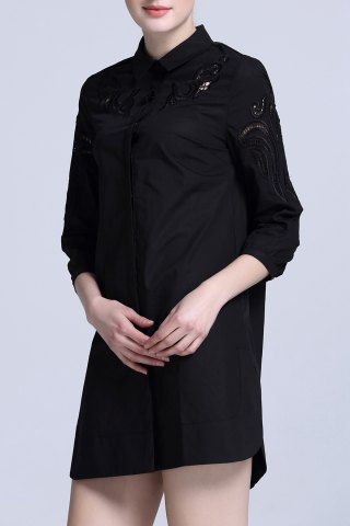 Discount Cut Out Embroidered Shirt Dress