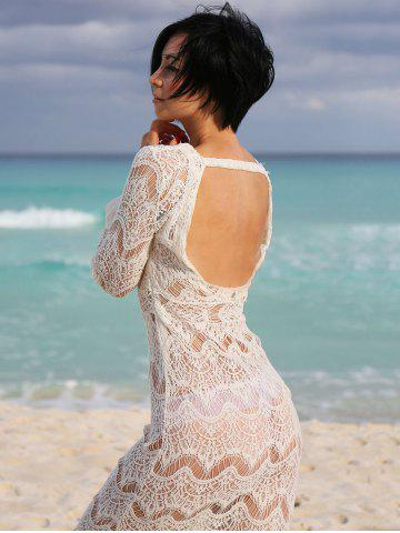 Lace Long Sleeve Backless Cover-Up Dress - White - One Size(fit Size Xs To M)