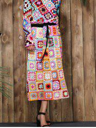 Fashion Elastic Waist Rainbow Granny Squares Crochet Skirt For Women -