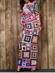 Limited Edition Off-The-Shoulder Granny Squares Long Sleeves Crochet Tank Top+Maxi Skirt For Women -