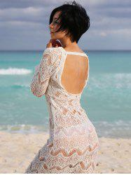 Sexy Scoop Neck Long Sleeve Cut Out Women's Lace Cover Up - WHITE