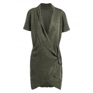 Shawl Collar Buckled Surplice Sweater Dress