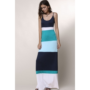 Bohemian Style Spaghetti Strap Color Block Women's Dress - LIGHT BLUE S