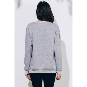 Women's Long Sleeve Round Neck Letter Pattern Sweatshirt - GRAY S