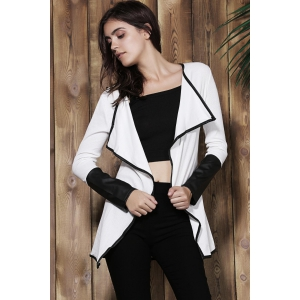 Stylish Long Sleeve Faux Leather Spliced Asymmetrical Women's Cardigan -