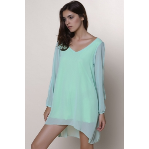Split Long Sleeve Chiffon Summer Mini Dress - LIGHT GREEN M