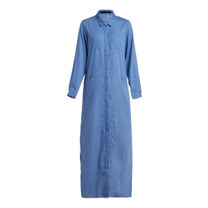 Long Sleeve Chambray Maxi Shirt Dress - Blue - L
