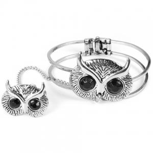 Vintage Owl Bracelet With Ring For Women - Silver - One-size