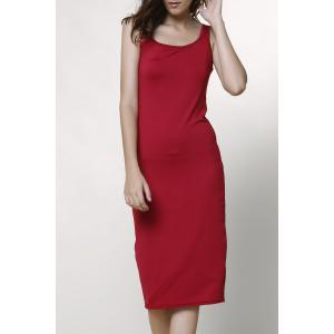 Casual Knee Length Scoop Collar Sleeveless Bodycon Dress