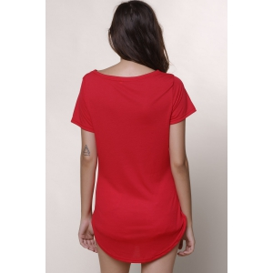 Short Sleeve Casual Mini Shift Dress - RED XL