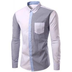 Casual Turn Down Collar Splicing Long Sleeves Shirt For Men